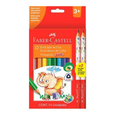 Lapis-de-Cor-e-Lapis-Preto-Nº-B2--Ecolapis-Triangular---Jumbo---12-Cores---Faber-Castell