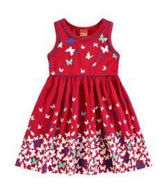 Vestido-Infantil---Regata-Vermelha-com-Borboletas---Kyly