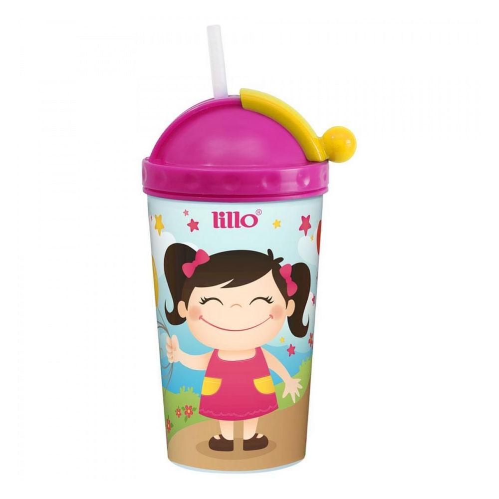 Copo com Canudo - 450 ml - Rosa - Lillo