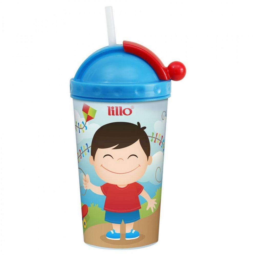 Copo com Canudo - 450 ml - Azul - Lillo