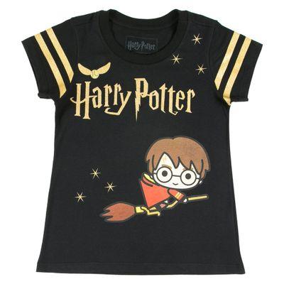 Blusa-Manga-Curta---Meia-Malha---Quadribol---Preto-e-Dourado---Harry-Potter---Warner