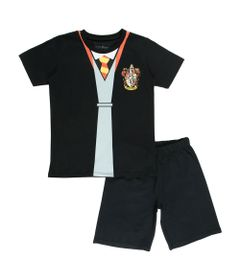 Conjunto-Blusa-e-Short---Algodao---Grifinoria---Preto---Harry-Potter---Warner
