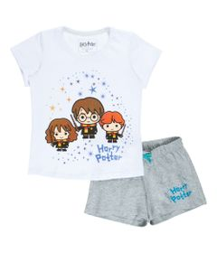 Pijama-Manga-Curta---Algodao---Harry-Rony-e-Hermione---Branco-e-Cinza---Harry-Potter---Warner