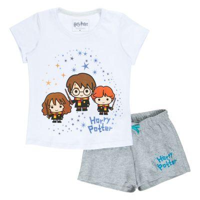 Pijama-Manga-Curta---Algodao---Harry-Rony-e-Hermione---Branco-e-Cinza---Harry-Potter---Warner