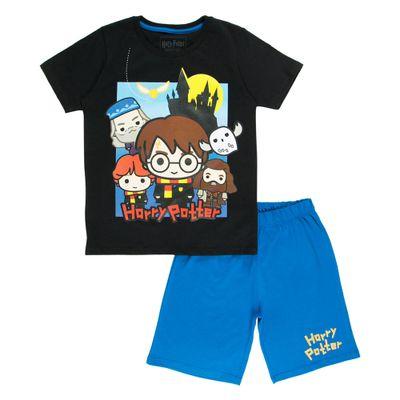 Pijama-Manga-Curta---Meia-Malha---Hogwarts----Preto-e-Azul---Harry-Potter---Warner