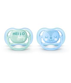 Chupetas-Ultra-Air-Dupla---Decorada-Azul-e-Verde---0-a-6-Meses---Philips-Avent