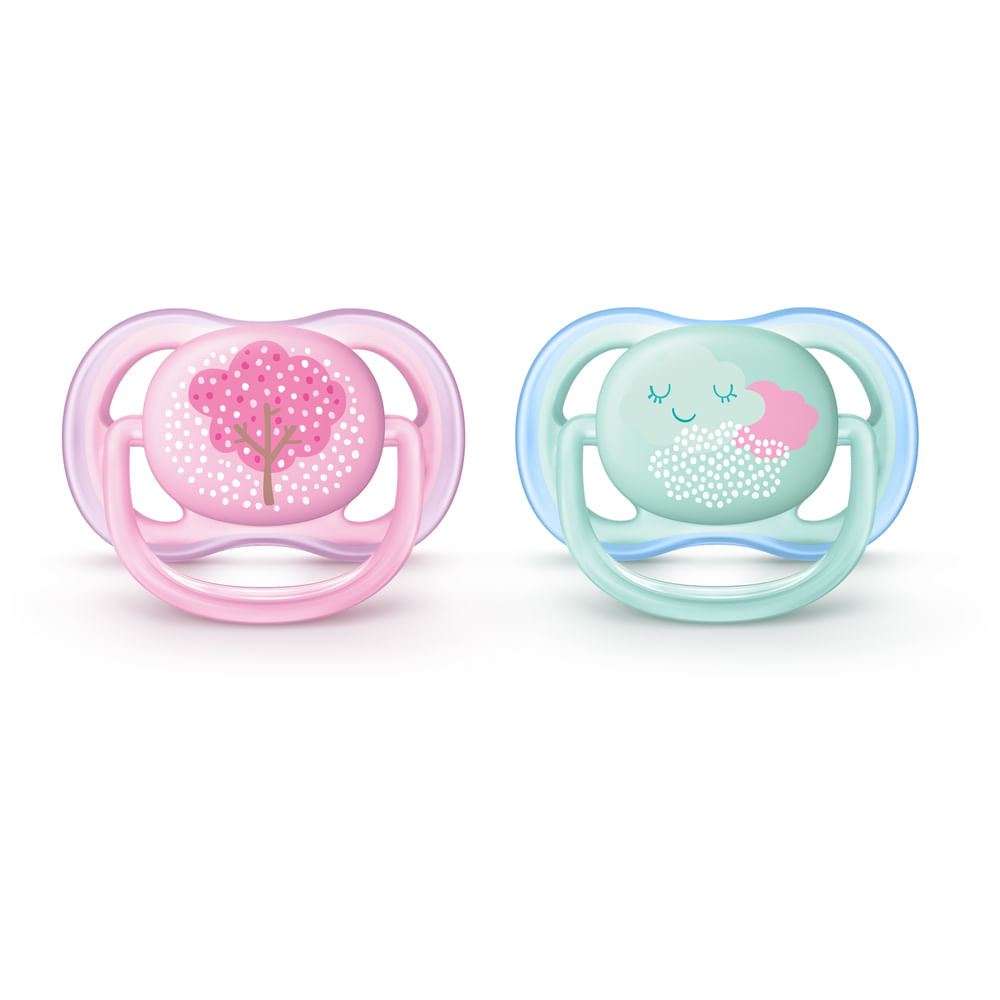 Chupetas Ultra Air Dupla- Decorada Rosa e Verde - 0 a 6 Meses - Philips Avent