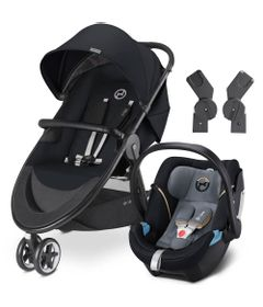 Travel-System-com-Adaptador---Agis-M-Air-3---Stardust-Black---Graphite-Black---Cybex