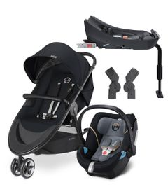 Travel-System-com-Adaptador-e-Base---Agis-M-Air-3---Stardust-Black---Graphite-Black---Cybex