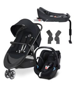Travel-System-com-Adaptador-e-Base---Agis-M-Air-3---Stardust-Black---Lavastone-Black---Cybex