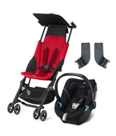 Travel-System-com-Adaptador---Pockit----Dragonfire-Red---Lavastone-Black---Cybex