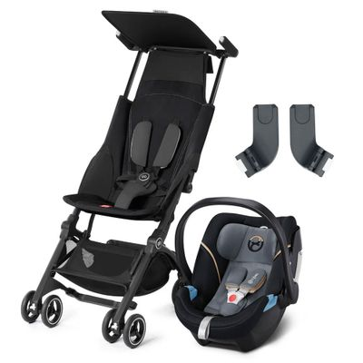 Travel-System-com-Adaptador---Pockit----Monument-Black---Graphite-Black---Cybex