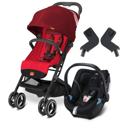 Travel-System-com-Adaptador---Qbit----Dragonfire-Red---Lavastone-Black---Cybex
