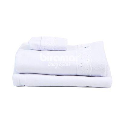 Conjunto-de-Lencois-e-Fronha-para-Berco---3-Pecas---Malha-Cordao---Branco---Biramar