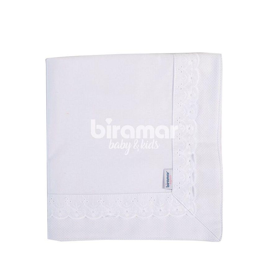 Manta-de-Malha---88-x-88-Cm---Bordado-Ingles-Forrada---Branco---Biramar