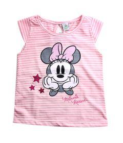 Blusa-Infantil---Manga-Curta---Minnie-Mouse---Branco-e-Rosa---Algodao-e-Poliester---Disney---1