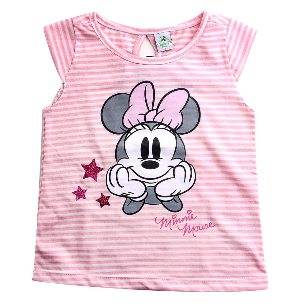Blusa Infantil - Manga Curta - Minnie Mouse - Branco e Rosa - Algodão e Poliéster - Disney