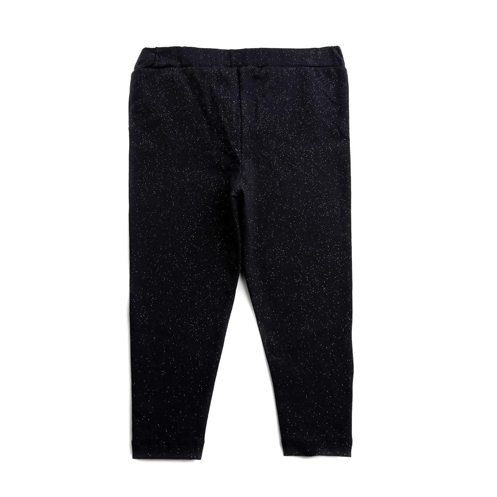Calça Legging Infantil - Minnie Mouse - Glitter - Preto - Algodão e Elastano - Disney