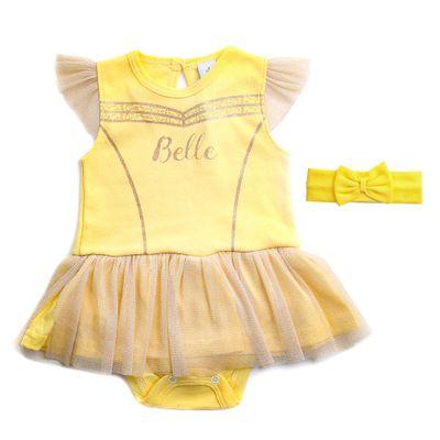 Body-Vestido---Manga-Curta---Princesa-Bela---Amarelo---Algodao-e-Poliamida---Disney---G
