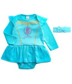 Body-Vestido---Manga-Curta---Princesa-Jasmine---Azul---Algodao-e-Poliamida---Disney---G