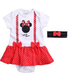 Body-Vestido---Manga-Curta---Minnie-Mouse---Branco---100--Algodao---Disney---P