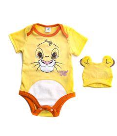Body-Manga-Curta-e-Touca---Simba---Amarelo---100--Algodao---Disney---G