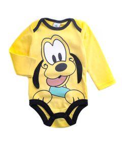 Body-Manga-Longa-Estampado---Pluto---Amarelo---100--Algodao---Disney---P