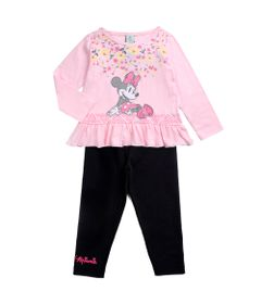 Conjunto-Infantil---Minnie-Mouse---Rosa-e-Preto---100--Algodao---Disney---1