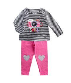 Conjunto-Infantil---Estampado---Rainbow---Preto-e-Rosa---Algodao-e-Poliester---Minimi---1