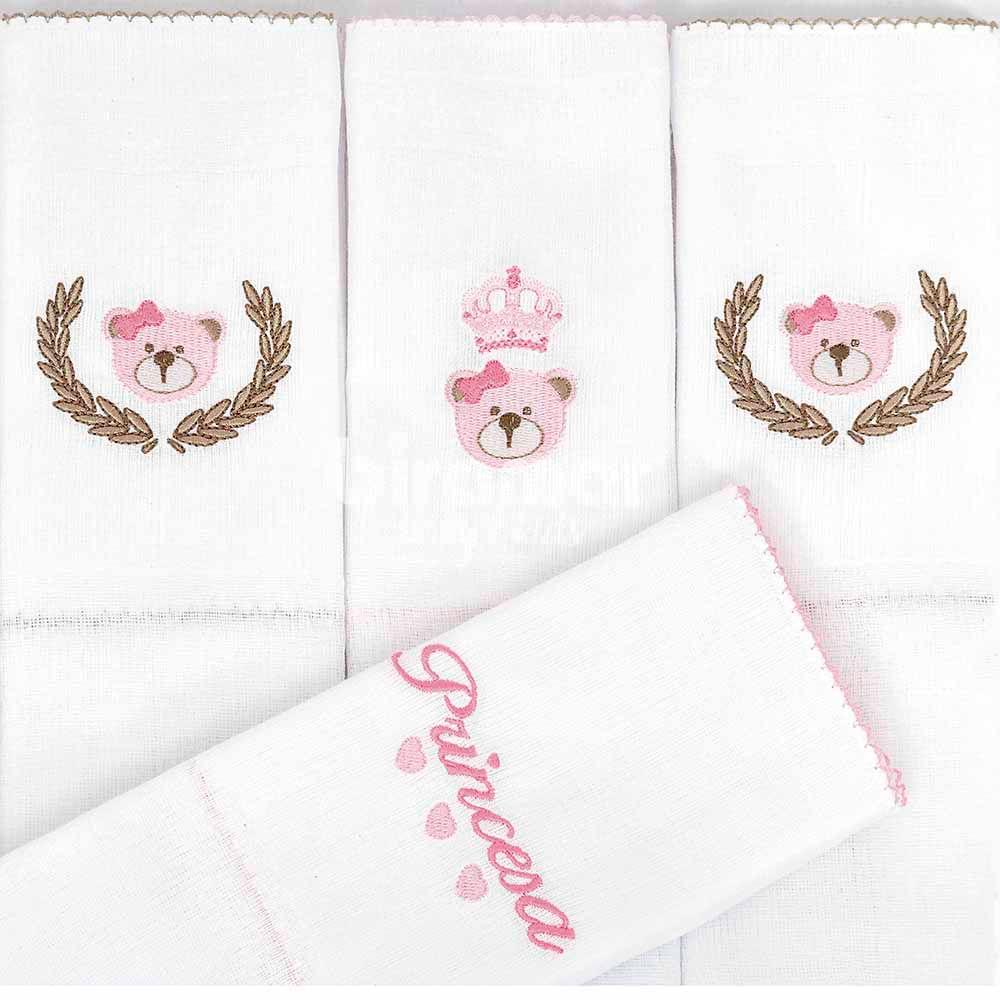 Conjunto com 5 Fraldas Cremer Luxo - Bordado - Chegou uma Princesa Rosa - Biramar