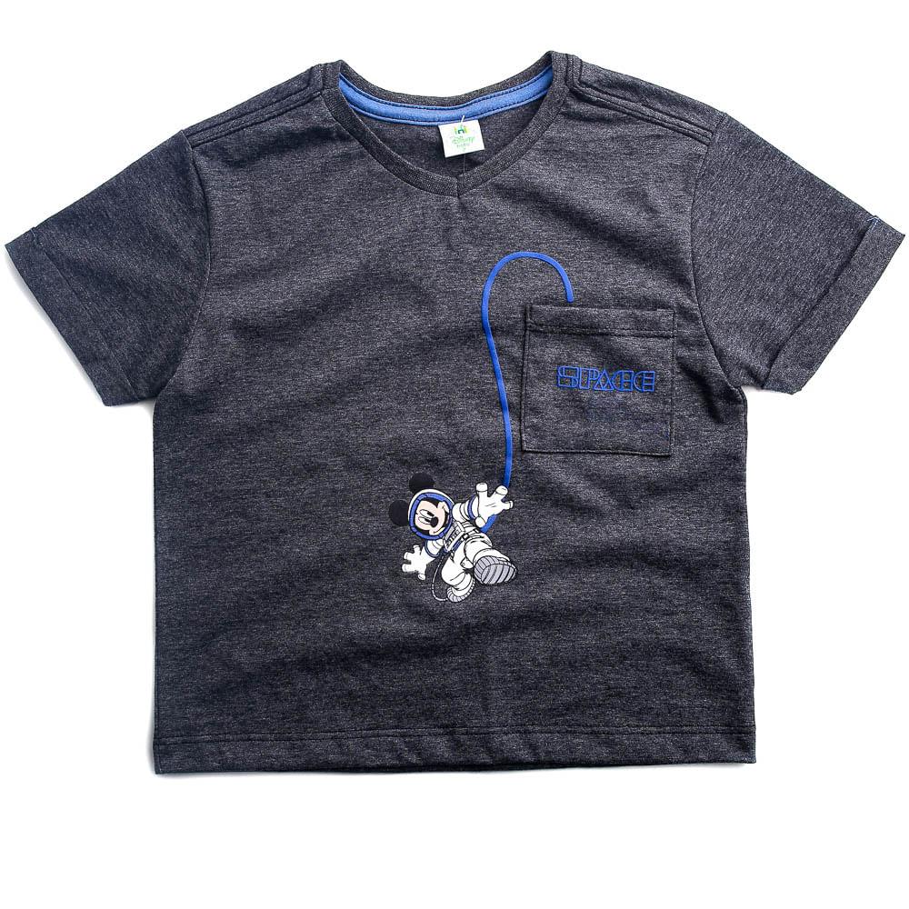 Camiseta Botone Com Bolso - Mickey Mouse - Algodão e Poliéster - Preto - Disney - 1