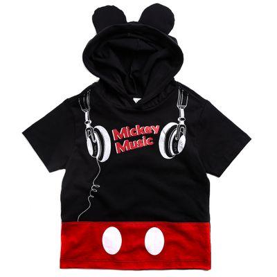 Camiseta-Infantil-com-Capuz---100--Algodao---Mickey-Mouse---Preto---Disney---1