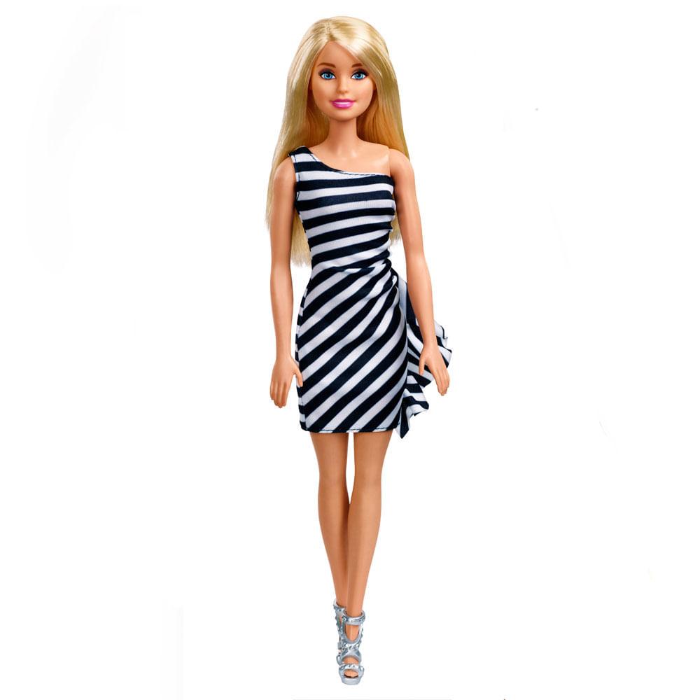 Boneca Barbie - Básica Glitz - Loira - Vestido Branco e Preto - Mattel