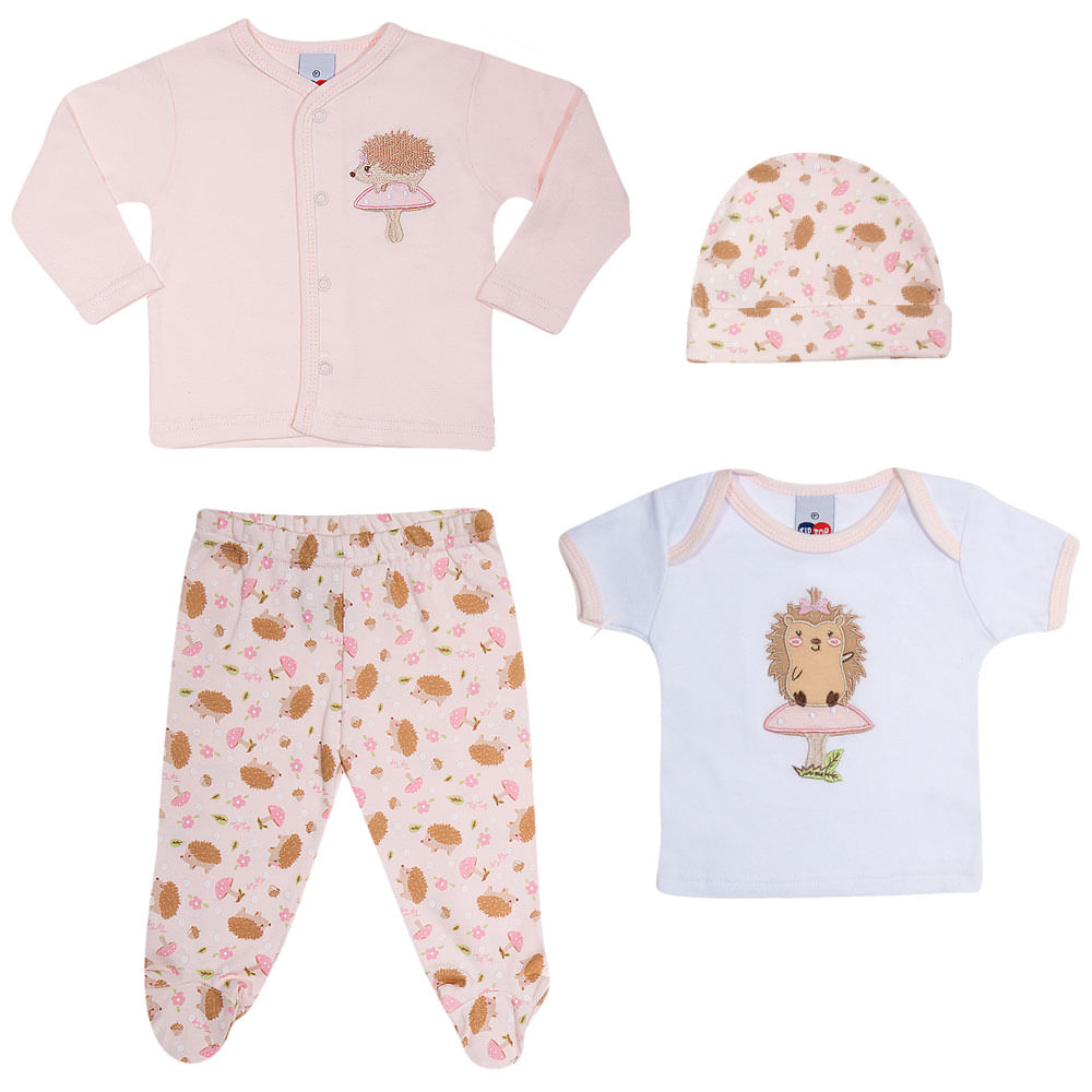 Conjunto Baby - Meninas - Calça, 2 Camisas e Touca - Rosa - Tip Top
