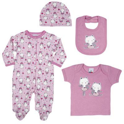 Conjunto-Baby---Meninas---Macacao-Camisa-Babador-e-Touca---Rosa---Tip-Top---M