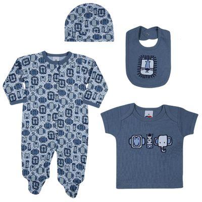 Conjunto-Baby---Meninos---Macacao-Camisa-Babador-e-Touca---Azul---Tip-Top---M