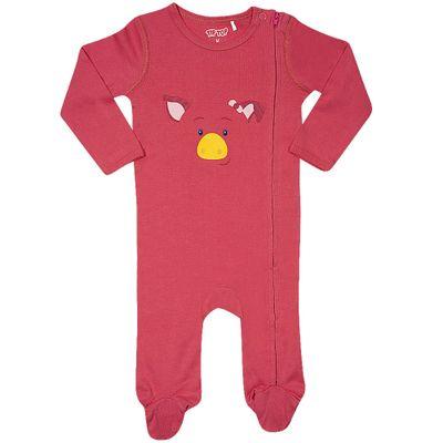 Pijama-Baby---Macacao-Manga-Longa---Pig---Rosa---Tip-Top---G