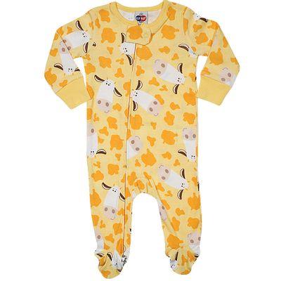 Pijama-Macacao-Baby---Meninas---Estampado---Cow---Amarelo---Tip-Top---1T