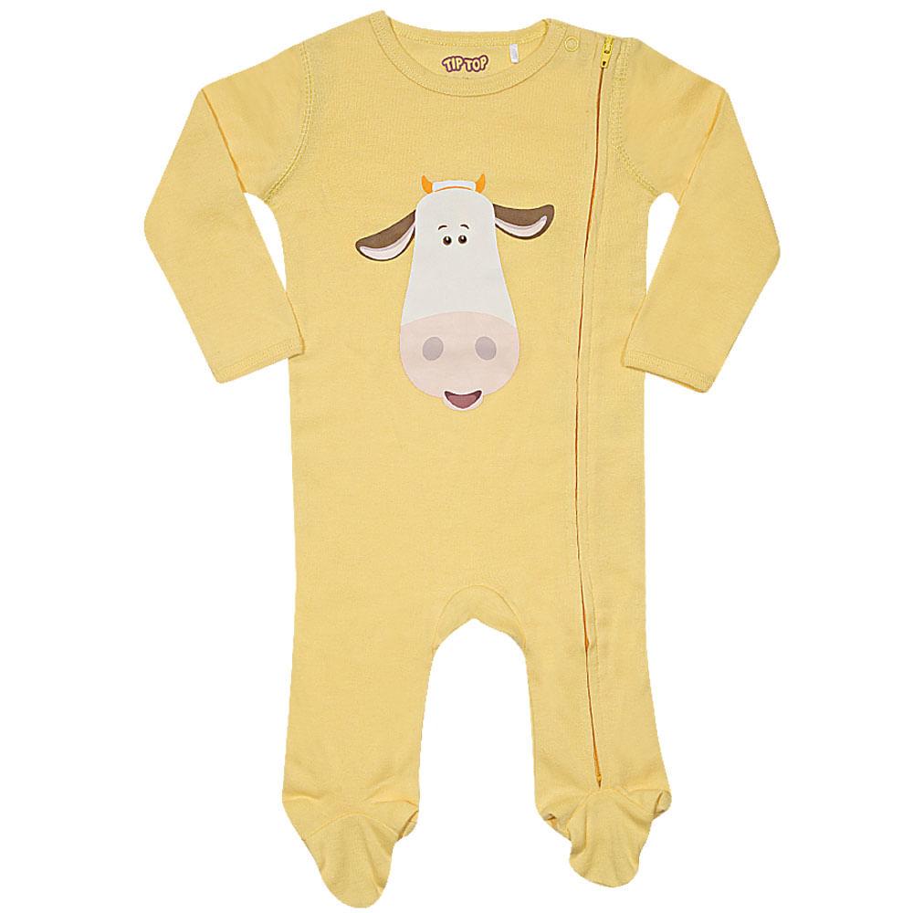 Pijama Baby - Macacão Manga Longa - Cow - Amarelo - Tip Top
