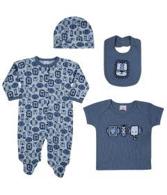 Conjunto-Baby---Meninos---Macacao-Camisa-Babador-e-Touca---Azul---Tip-Top---RN