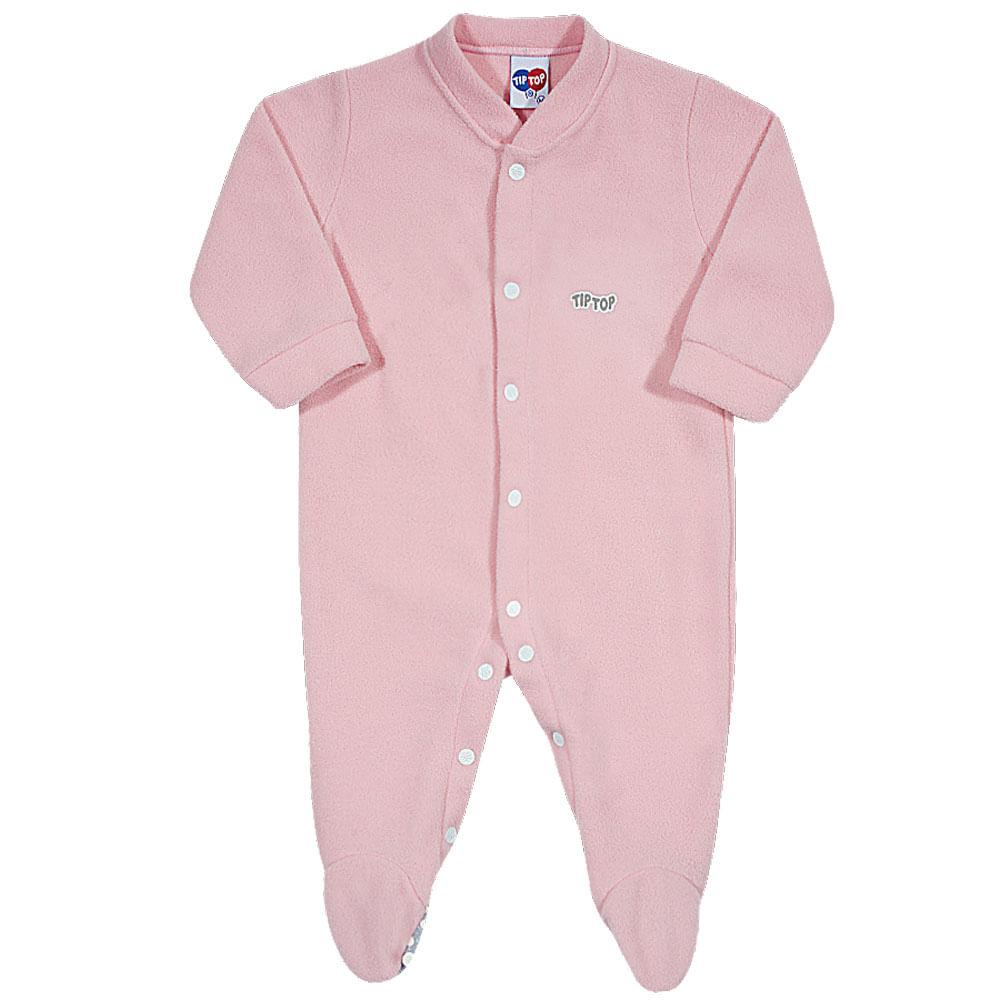 Pijama Macacão Baby - Liso - Rosa Claro - Tip Top