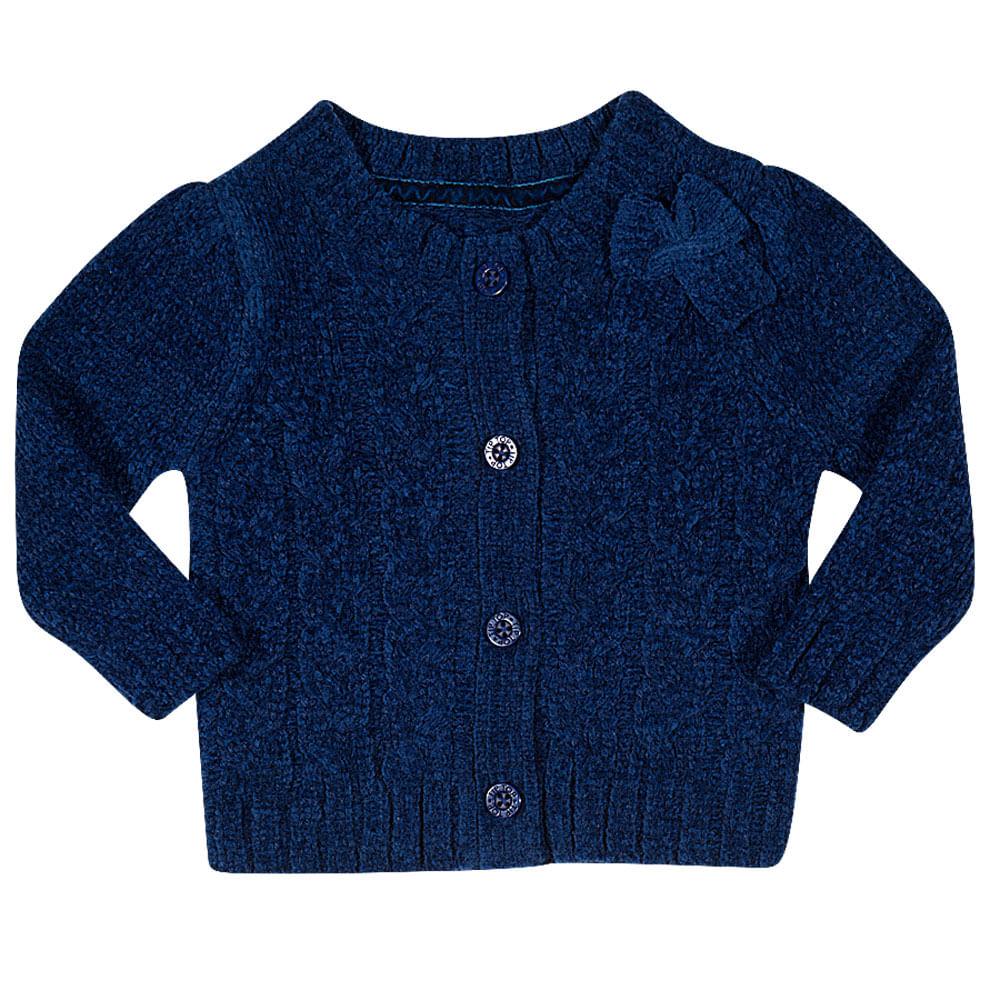 Blusa Infantil - Tricot com Botões - Marinho - Tip Top