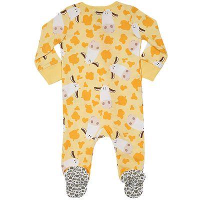 Pijama-Macacao-Baby---Meninas---Estampado---Cow---Amarelo---Tip-Top---2T