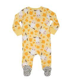 Pijama-Macacao-Baby---Meninas---Estampado---Cow---Amarelo---Tip-Top---3T
