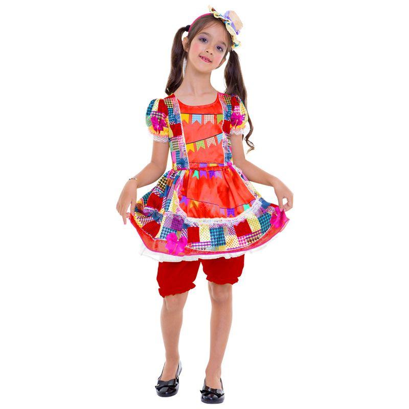 Fantasia Infantil Vestido Bandeirinhas Festa Junina