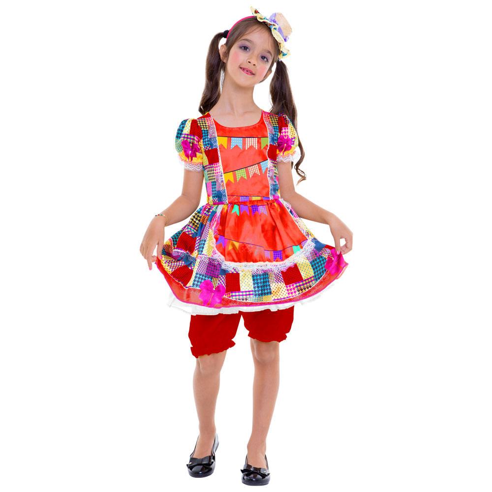 Fantasia Infantil - Vestido Bandeirinhas - Festa Junina - Regina Festas