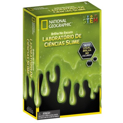 Conjunto de Atividades Laboratorio de Ciencias de Slime Brilha no Escuro Verde National Geographic