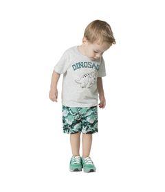 Conjunto-Camiseta-e-Bermuda-em-Meia-Malha-e-Moletinho---Dinossauro---Branco-Mescla---Kyly---1