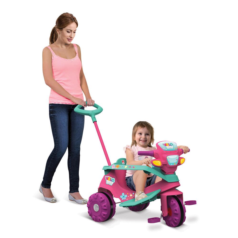 Triciclo de Passeio e Pedal - Velobaby - Gatinha - Bandeirante
