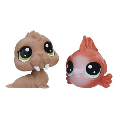 Mini-Figura---Littlest-Pet-Shop---Serie-1---Wally-Walro-e-Eda-Redfish---Hasbro_Frente